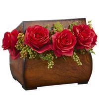 Nearly Natural 8-Inch Rose Artificial Arrangement in Red with Decorative Chest