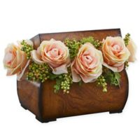 Nearly Natural 8-Inch Rose Artificial Arrangement in Peach with Decorative Chest