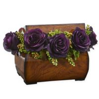 Nearly Natural 8-Inch Rose Artificial Arrangement in Purple with Decorative Chest