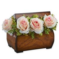 Nearly Natural 8-Inch Rose Artificial Arrangement in Light Pink with Decorative Chest