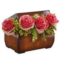 Nearly Natural 8-Inch Rose Artificial Arrangement in Dark Pink with Decorative Chest