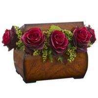 Nearly Natural 8-Inch Rose Artificial Arrangement in Burgundy with Decorative Chest