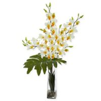 Nearly Natural 33-Inch Artificial Cream Dendrobium Tropical Orchid in Vase