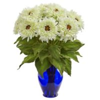 Nearly Natural 19-Inch Artificial White Sunflower Arrangement in Vase