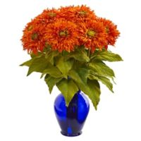 Nearly Natural 19-Inch Artificial Orange Sunflower Arrangement in Vase