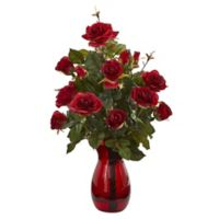 Nearly Natural 21-Inch Artificial Red Garden Rose Arrangement in Vase