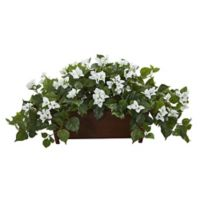 Nearly Natural Artificial White Bougainvillea Plant in Planter