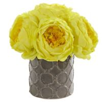 Nearly Natural 10-Inch Artificial Large Yellow Rose Arrangement in Vase