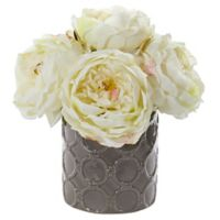 Nearly Natural 10-Inch Artificial Large White Rose Arrangement in Vase