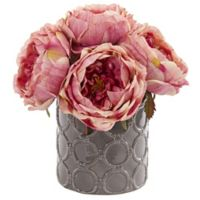 Nearly Natural 10-Inch Artificial Large Pink Rose Arrangement in Vase