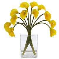 Nearly Natural 19-Inch Artificial Yellow Calla Lily Arrangement in Vase
