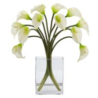Nearly Natural 19-Inch Artificial White Calla Lily Arrangement in Vase