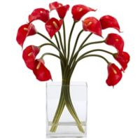 Nearly Natural 19-Inch Artificial Red Calla Lily Arrangement in Vase