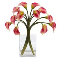Nearly Natural 19-Inch Artificial Pink Calla Lily Arrangement in Vase