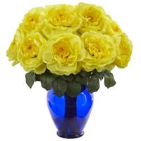 Nearly Natural 18-Inch Artificial Yellow Rose Arrangement in Vase