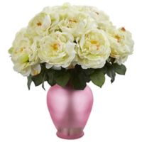 Nearly Natural 18-Inch Artificial White Rose Arrangement in Vase