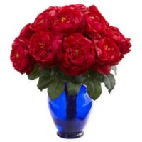 Nearly Natural 18-Inch Artificial Red Rose Arrangement in Vase