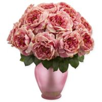 Nearly Natural 18-Inch Artificial Pink Rose Arrangement in Vase