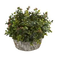 Nearly Natural 8-Inch Artificial Green Eucalyptus Arrangement in Planter