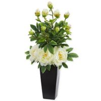 Nearly Natural 30-Inch Artificial White Peony Arrangement in Vase