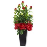 Nearly Natural 30-Inch Artificial Red Peony Arrangement in Vase