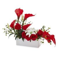 Nearly Natural 19-Inch Mixed Red Lily & Rose Arrangement in Ceramic Vase