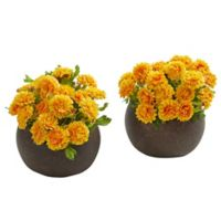 Nearly Natural 5-Inch Artificial Yellow Japanese Flower Arrangement in Planter