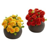 Nearly Natural 5-Inch Artificial Assorted Japanese Flower Arrangement in Planter