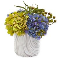 Nearly Natural 11-Inch Artificial Blue Hydrangea & Berries Arrangement in Vase