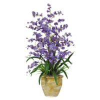 Nearly Natural Artificial Dancing Lady Arrangement in Purple with Vase