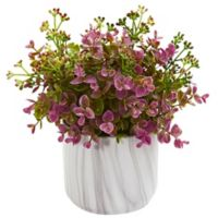 Nearly Natural 9-Inch Artificial Purple Eucalyptus Plant in Vase