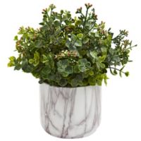 Nearly Natural 9-Inch Artificial Green Eucalyptus Plant in Vase