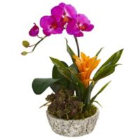 Nearly Natural 14-Inch Artificial Pink Orchid, Bromeliad & Succulent in Planter