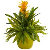 Nearly Natural 18-Inch Artificial Yellow Bromeliad & Fern Plant in Vase