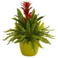 Nearly Natural 18-Inch Artificial Red Bromeliad & Fern Plant in Vase
