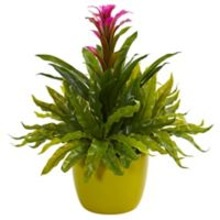 Nearly Natural 18-Inch Artificial Purple Bromeliad & Fern Plant in Vase