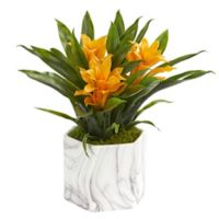 Nearly Natural 11-Inch Artificial Yellow Bromeliad Plant in Vase