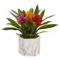 Nearly Natural 11-Inch Artificial Assorted Bromeliad Plant in Vase
