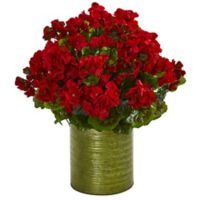 Nearly Natural 20-Inch UV-Resistant Artificial Red Geranium Arrangement in Planter