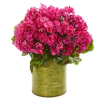 Nearly Natural 20-Inch UV-Resistant Artificial Pink Geranium Arrangement in Planter
