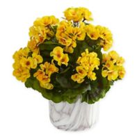 Nearly Natural 13-Inch Yellow Geranium Plant in Marble-Finished Vase