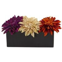 Nearly Natural 6-Inch Artificial Multicolor Dahlia Floral Arrangement in Black Planter