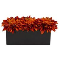 Nearly Natural 6-Inch Artificial Dahlia Floral Arrangement in Orange in Black Planter