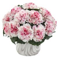 Nearly Natural 10-Inch Artificial White/Mauve Carnation Arrangement in Vase