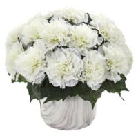 Nearly Natural 10-Inch Artificial Cream Carnation Arrangement in Vase