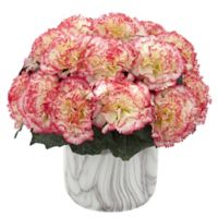 Nearly Natural 10-Inch Artificial Cream/Pink Carnation Arrangement in Vase