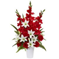 Nearly Natural 31-Inch Artificial Red Mixed Flower Arrangement in Vase