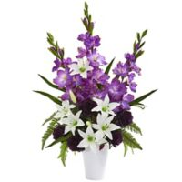 Nearly Natural 31-Inch Artificial Purple Mixed Flower Arrangement in Vase