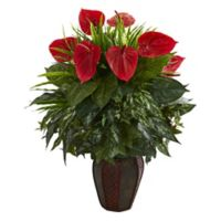 Nearly Natural 30-Inch Artificial Green Anthurium Arrangement in Planter