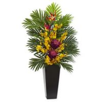 Nearly Natural 35-Inch Artificial Mauve Tropical Floral & Orchid Arrangement in Vase